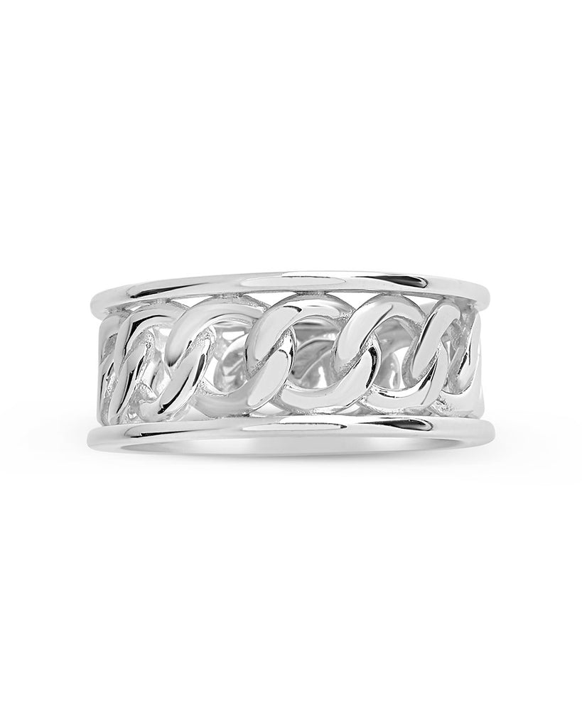 Sterling Silver Curb Chain Band Ring Ring Sterling Forever Silver 6