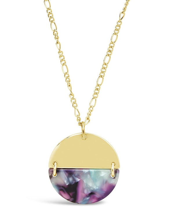 Resin Disk Necklace - Sterling Forever