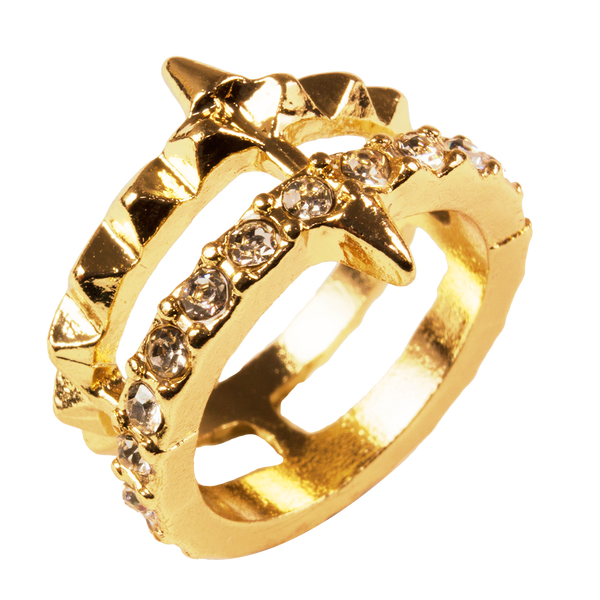 Gold Tone Spiked CZ Midi Ring Set