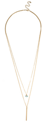 Two Layer Gold Evil Eye and Bar Chain Necklace