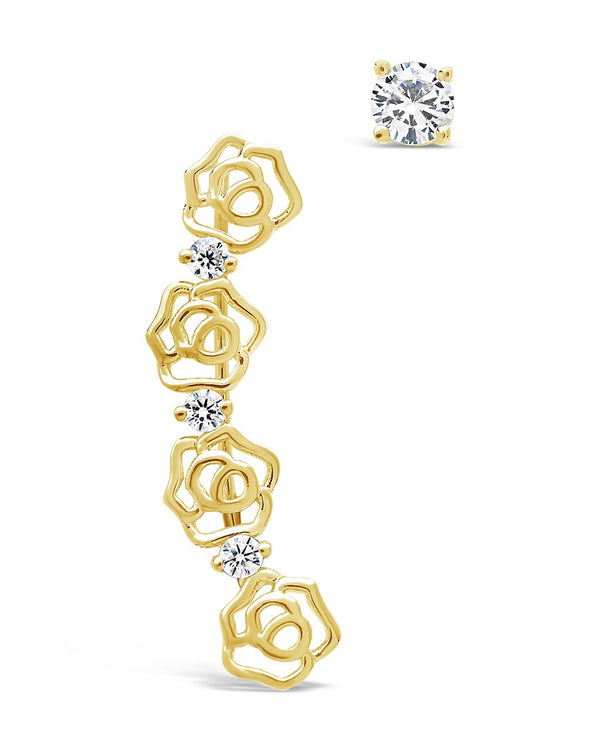 CZ Rose Ear Crawler & Stud Earring Set - Sterling Forever