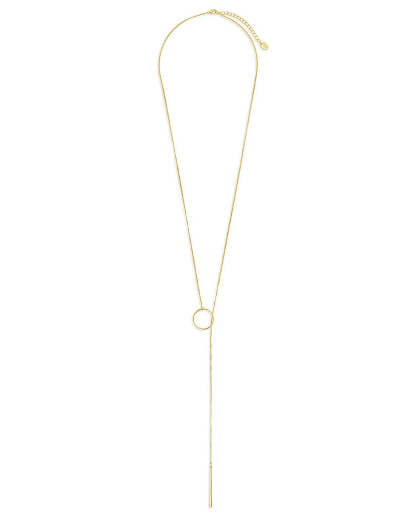 Layering Circle and Bar Lariat Necklace - Sterling Forever