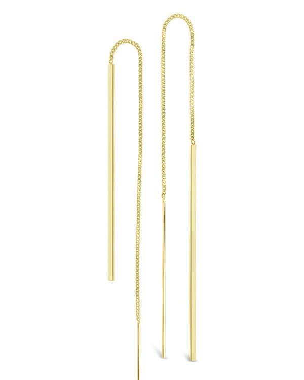 Gold Bar Threader Earrings - Sterling Forever