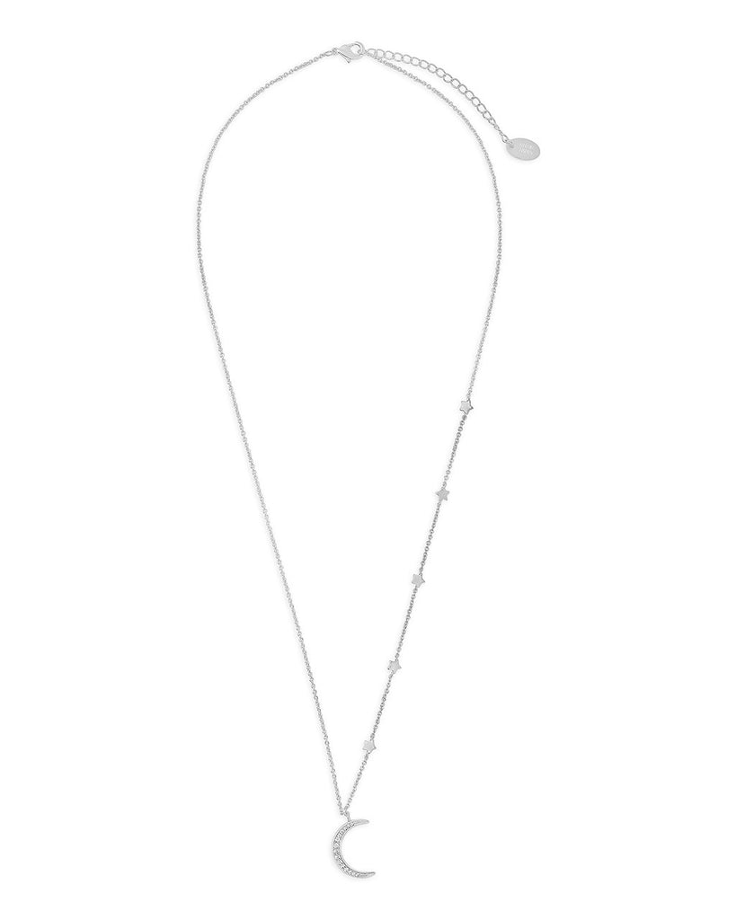 CZ Crescent with Stars Necklace - Sterling Forever