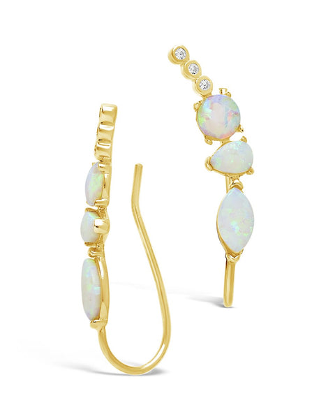 CZ & Created Opal Accented Ear Crawlers Earring Sterling Forever
