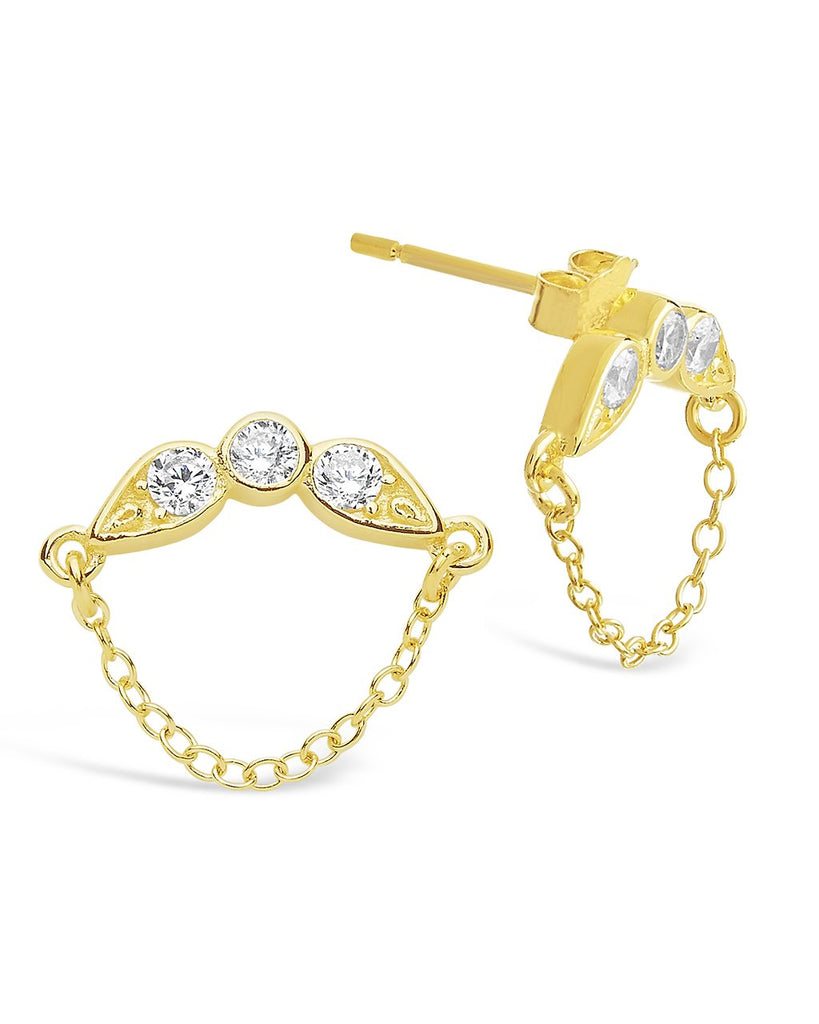 Delicate CZ and Chain Drop Stud Earrings - Sterling Forever