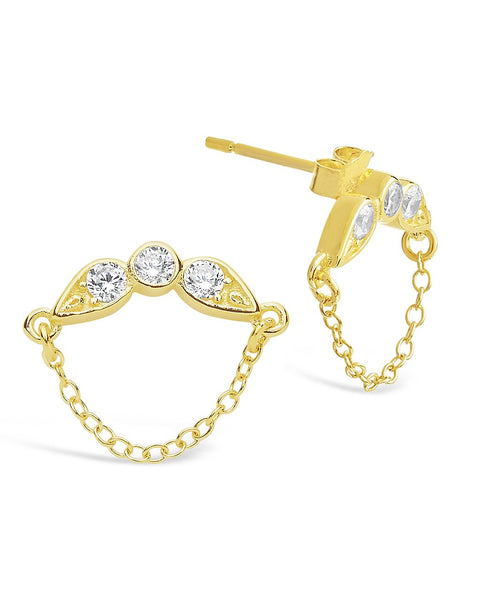 Delicate CZ and Chain Drop Stud Earrings Earring Sterling Forever