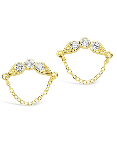 Delicate CZ and Chain Drop Stud Earrings