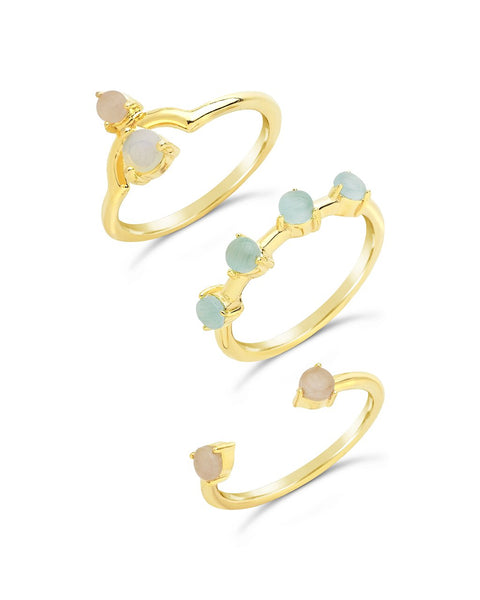 14K Gold Vermeil Moonstone Ring Set of 3