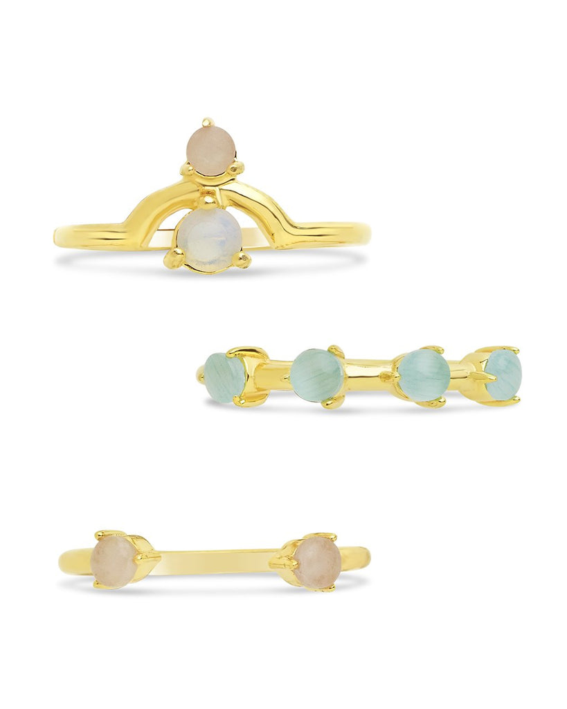 14K Gold Vermeil Moonstone Ring Set of 3 - Sterling Forever
