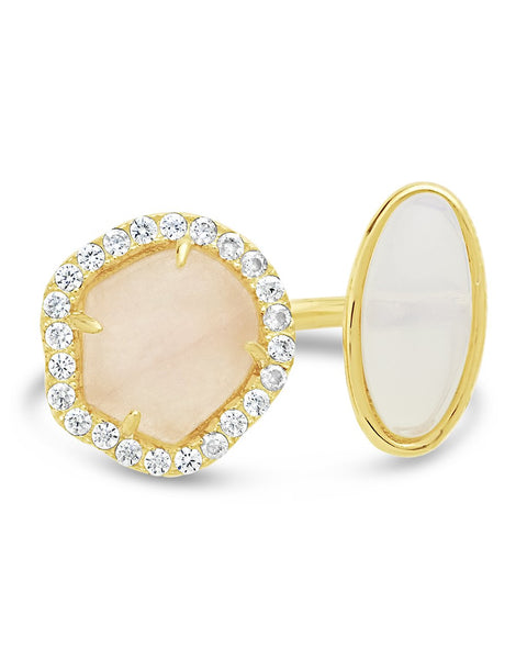 14K Gold Vermeil Moonstone Open Ring
