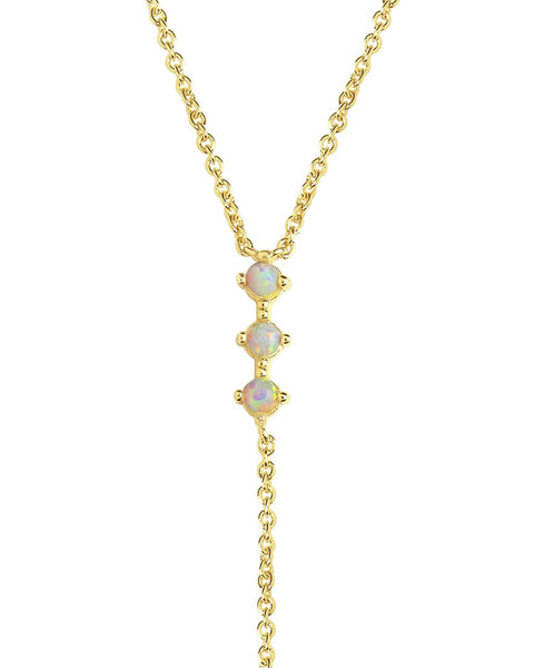 Dainty Opal Y Drop Necklace