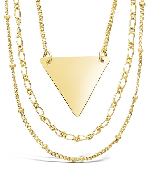 Triple Chain Layered Triangle Necklace Necklace Sterling Forever Gold