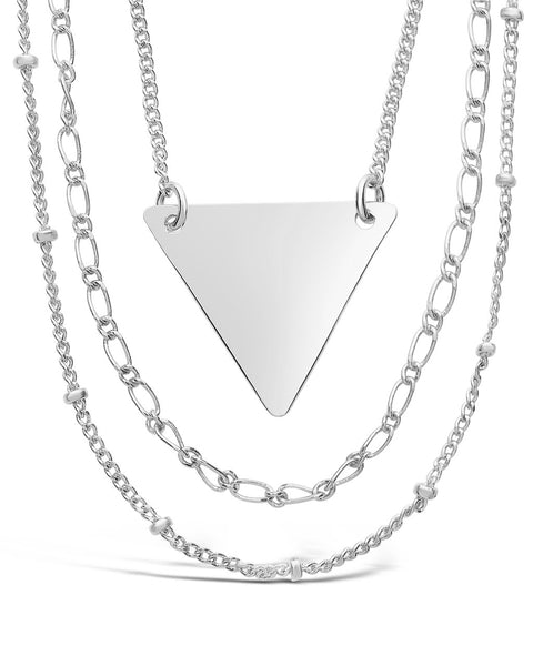 Triple Chain Layered Triangle Necklace Necklace Sterling Forever Silver