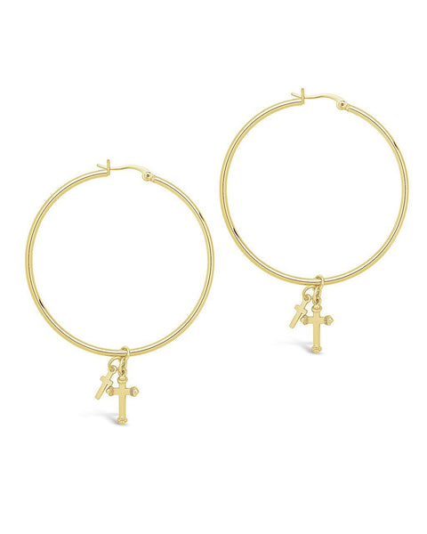 Double Cross Charm Hoops - Sterling Forever