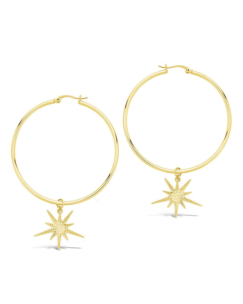Textured Burst Charm Hoops