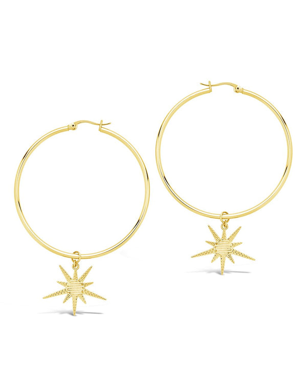 Textured Burst Charm Hoops - Sterling Forever