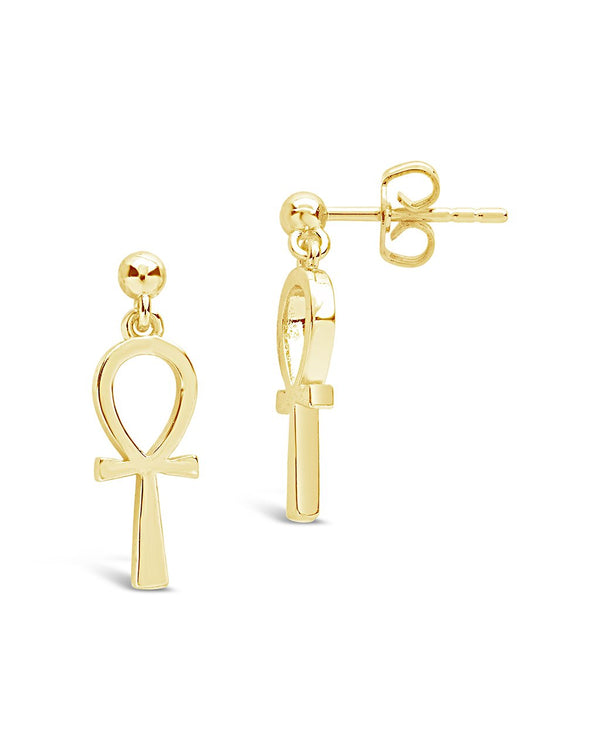 Ankh Stud Drop Earrings - Sterling Forever