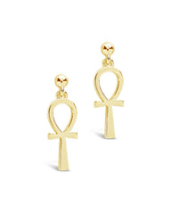 Ankh Stud Drop Earrings