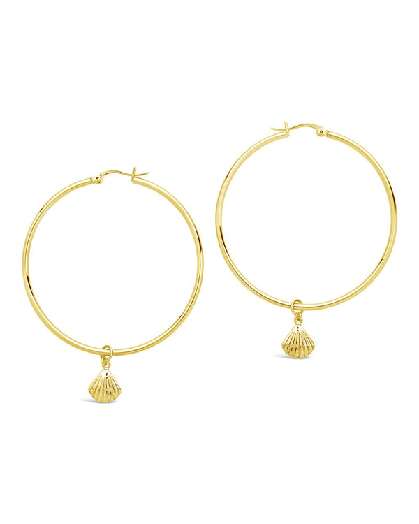 Seashell Charm Hoops - Sterling Forever