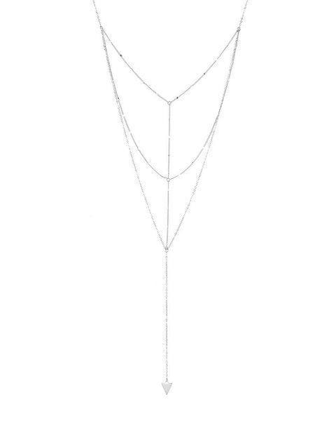 Triple Layer Triangle Drop Chain Necklace Necklace Sterling Forever Silver