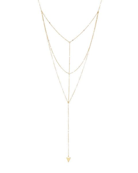 Triple Layer Triangle Drop Chain Necklace Necklace Sterling Forever Gold
