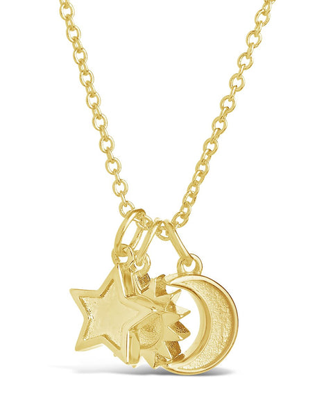 Sun, Star, and Moon Charm Necklace - Sterling Forever