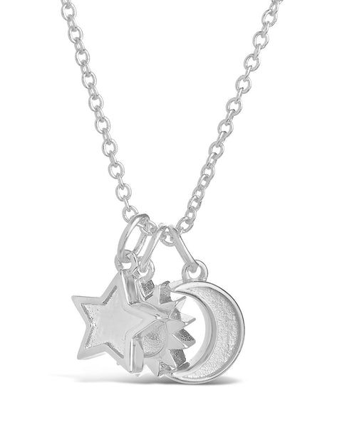 Sun, Star, and Moon Charm Necklace Necklace Sterling Forever Silver