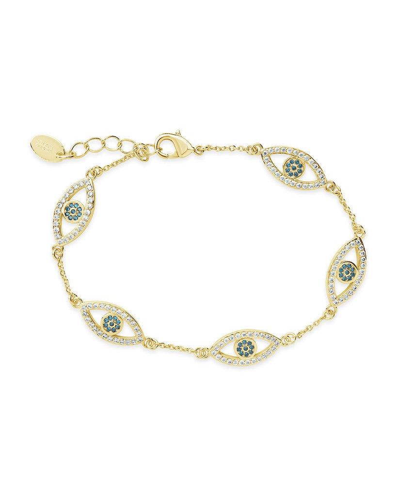 Evil Eye Bracelet with CZ - Sterling Forever