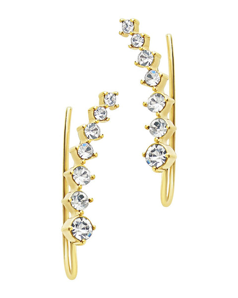 Graduated CZ Crawler Earrings