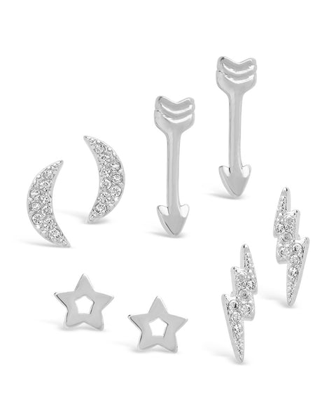 Sterling Silver Celestial Earring Set of 4 - Sterling Forever