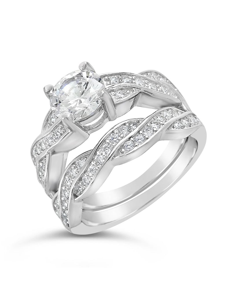 Sterling Silver Round CZ Ring with Twist Band Ring Sterling Forever