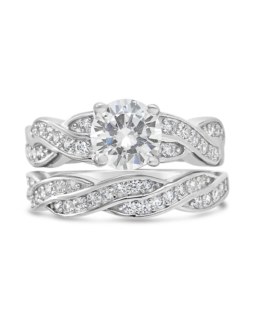 Sterling Silver Round CZ Ring with Twist Band Ring Sterling Forever 5 Silver