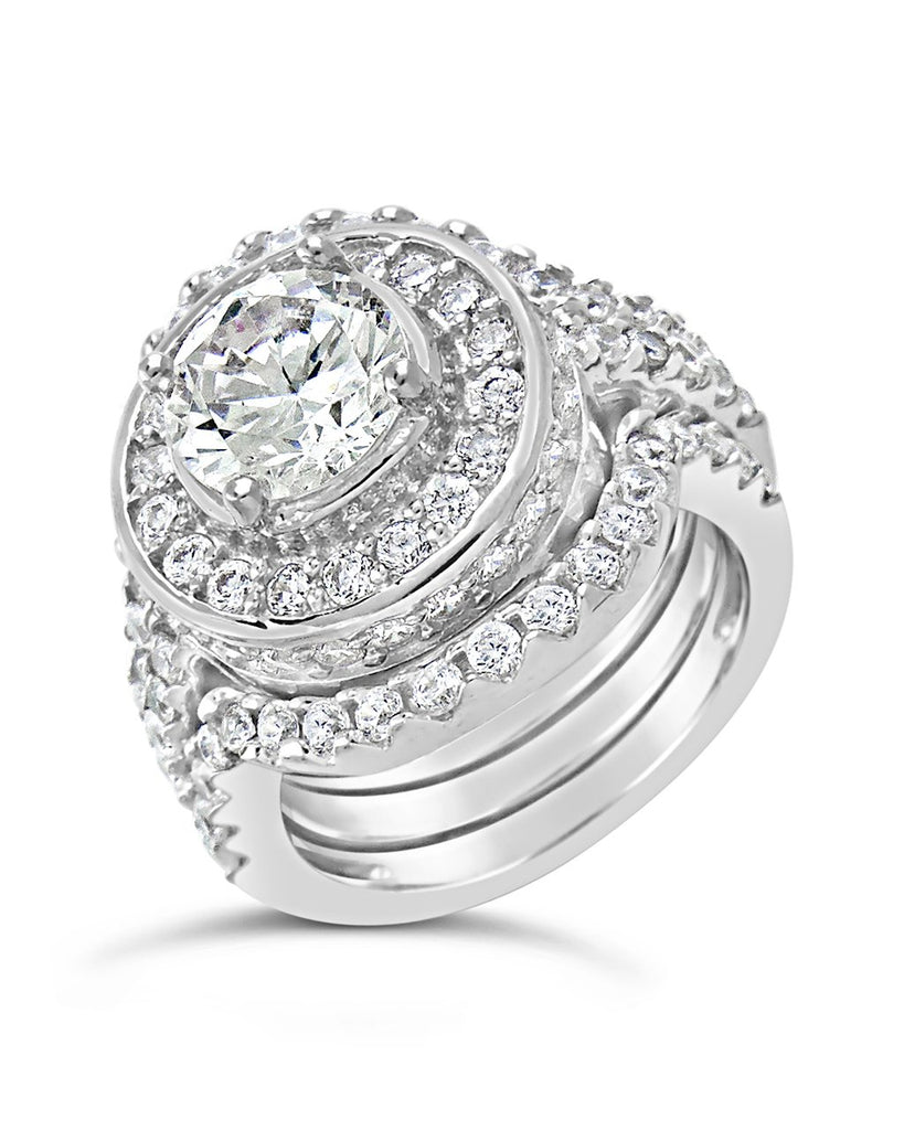 Sterling Silver Brilliant CZ Halo Ring with 2 Bands Ring Sterling Forever