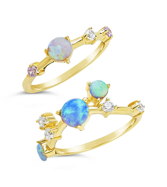 14K Gold Vermeil Created Opal Orbit Stacking Set of 2 Ring Sterling Forever