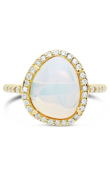 Eyes Ablaze Moonstone Oval Halo Ring