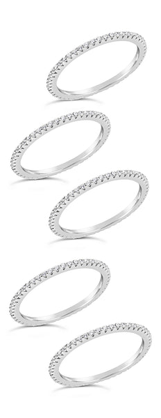 Sterling Silver CZ 5pc Stacking Band Set