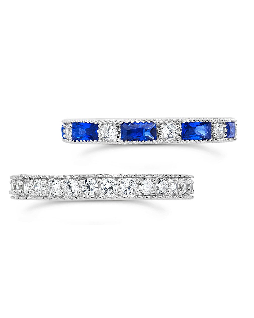 Sterling Silver Sapphire Blue CZ Stacking Ring Set of 2