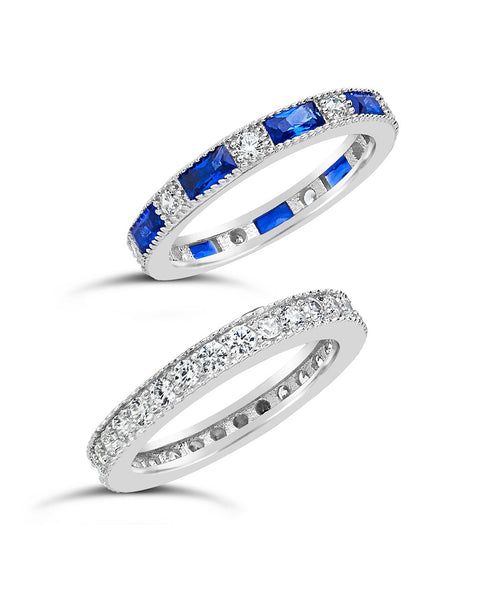 Sterling Silver Sapphire Blue CZ Stacking Ring Set of 2 Ring Sterling Forever