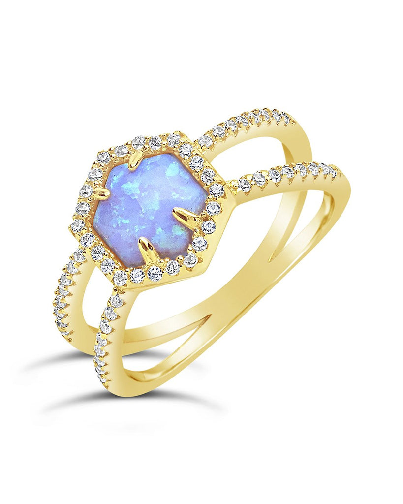 14K Gold Vermeil Created Opal Gemstone Double Row Band Ring - Sterling Forever