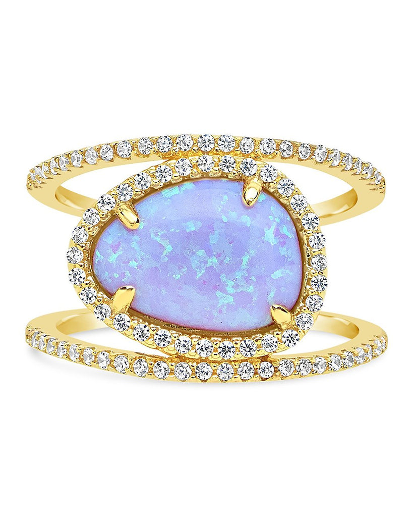14K Gold Vermeil Created Opal Oval Gemstone Ring - Sterling Forever