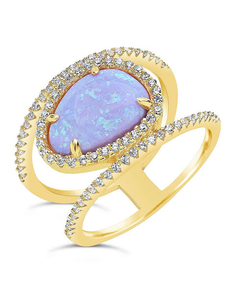 14K Gold Vermeil Created Opal Oval Gemstone Ring