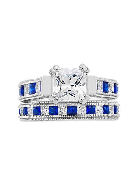 Sterling Silver Princess Cut CZ & Sapphire Blue CZ Ring Set of 2