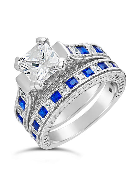 Sterling Silver Princess Cut CZ & Simulated Sapphire Ring 2-Piece Set