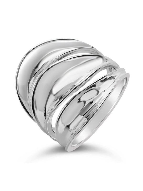 Sterling Silver Multi Concave Ring - Sterling Forever