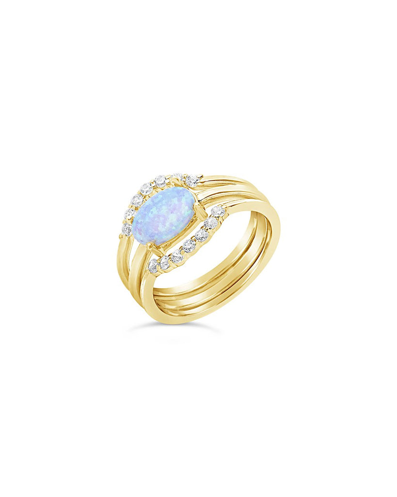 Delicate 3pc Blue Opal Stacking Ring Set - Sterling Forever