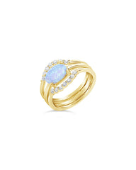 Delicate 3pc Blue Opal Stacking Ring Set