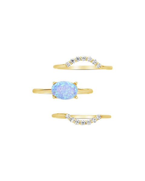 Delicate 3pc Blue Opal Stacking Ring Set Ring Sterling Forever Gold 6