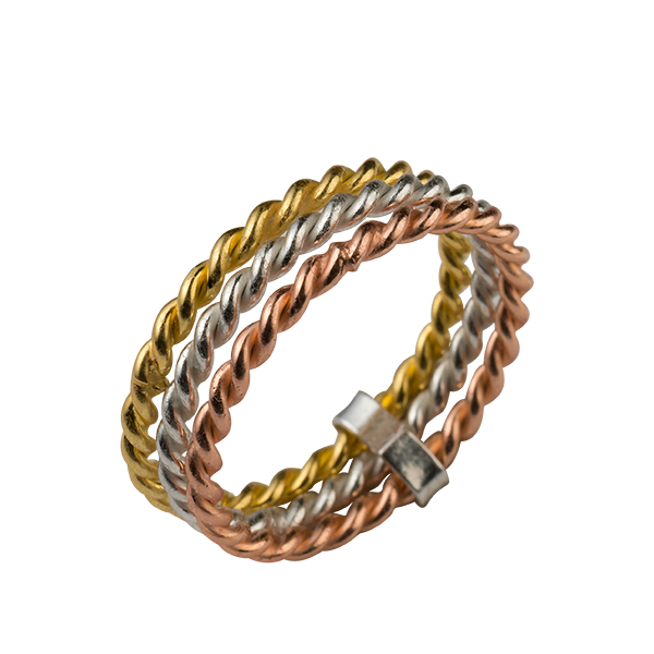 Tri Color Twist Band Ring - Sterling Forever