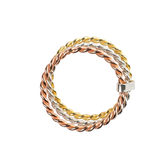 Tri Color Twist Band Ring
